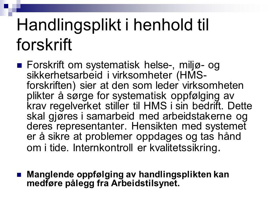 Handlingsplikt i henhold til forskrift Forskrift om systematisk helse-, miljø- og sikkerhetsarbeid i virksomheter (HMS- forskriften) sier at den som l