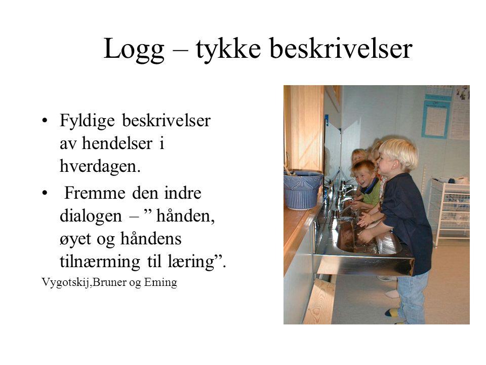 """Logg – tykke beskrivelser Fyldige beskrivelser av hendelser i hverdagen. Fremme den indre dialogen – """" hånden, øyet og håndens tilnærming til læring""""."""