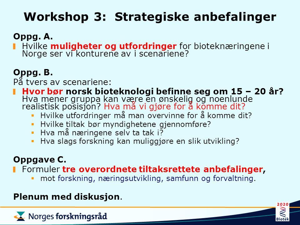 Workshop 3: Strategiske anbefalinger Oppg. A. Hvilke muligheter og utfordringer for bioteknæringene i Norge ser vi konturene av i scenariene? Oppg. B.