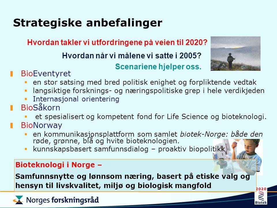 Strategiske anbefalinger BioEventyret  en stor satsing med bred politisk enighet og forpliktende vedtak  langsiktige forsknings- og næringspolitiske