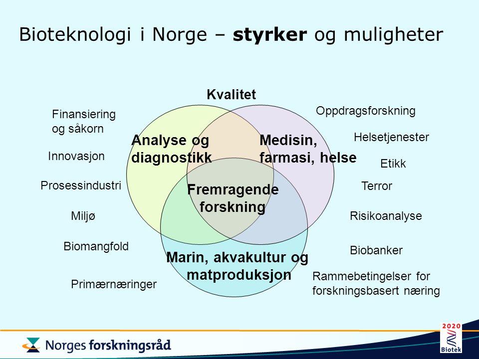 Bioteknologi i Norge – styrker og muligheter Analyse og diagnostikk Fremragende forskning Medisin, farmasi, helse Marin, akvakultur og matproduksjon E