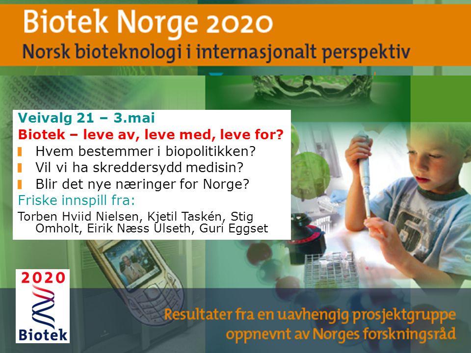 Veivalg 21 – 3.mai Biotek – leve av, leve med, leve for? Hvem bestemmer i biopolitikken? Vil vi ha skreddersydd medisin? Blir det nye næringer for Nor