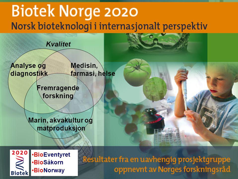 Analyse og diagnostikk Fremragende forskning Medisin, farmasi, helse Marin, akvakultur og matproduksjon Kvalitet BioEventyret BioSåkorn BioNorway