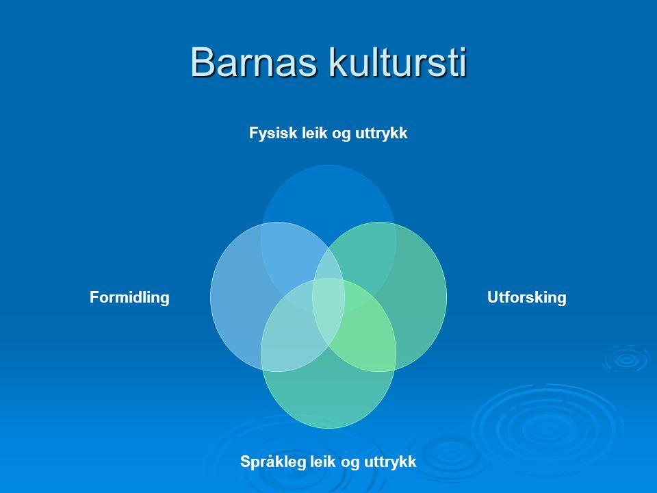Barnas kultursti Fysisk leik og uttrykk Utforsking Språkleg leik og uttrykk Formidling