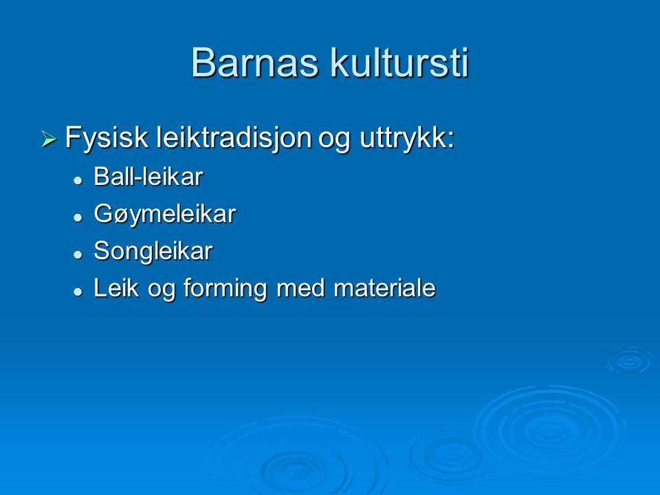 Barnas kultursti  Fysisk leiktradisjon og uttrykk: Ball-leikar Ball-leikar Gøymeleikar Gøymeleikar Songleikar Songleikar Leik og forming med material