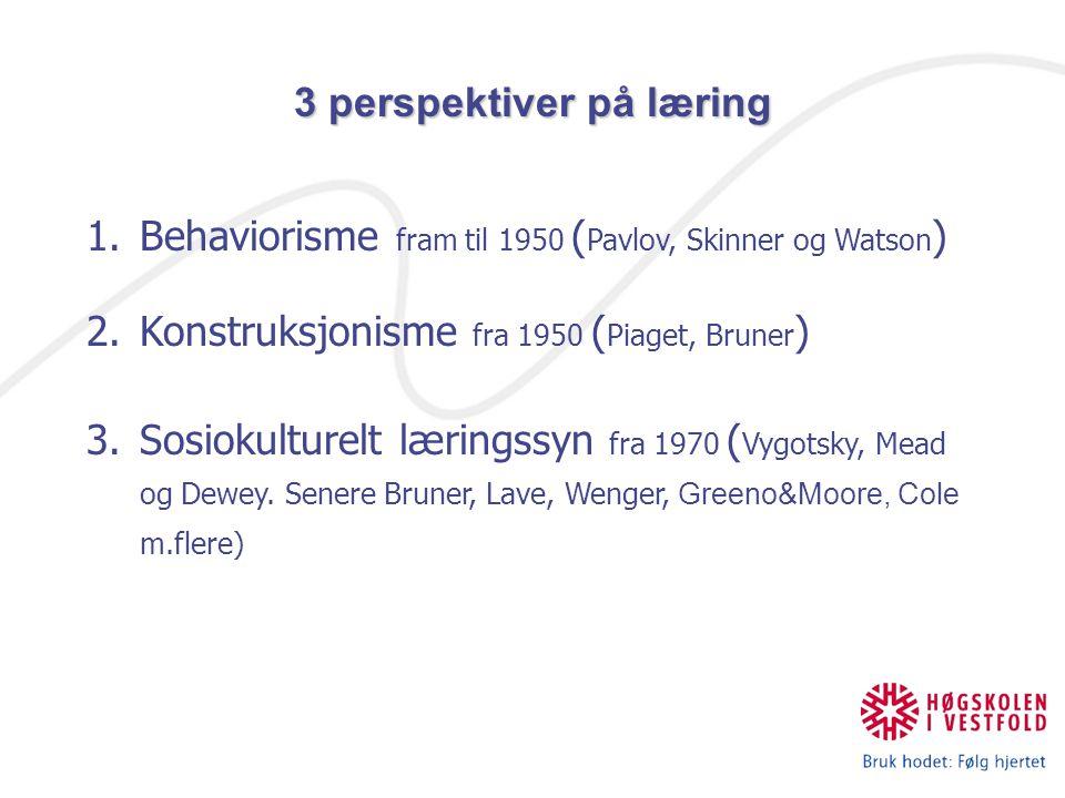 Behaviorisme la vekt på å bryte ned læringsoppgavene i delferdigheter som så igjen kunne prøves hver for seg Stimulus/respons modell.