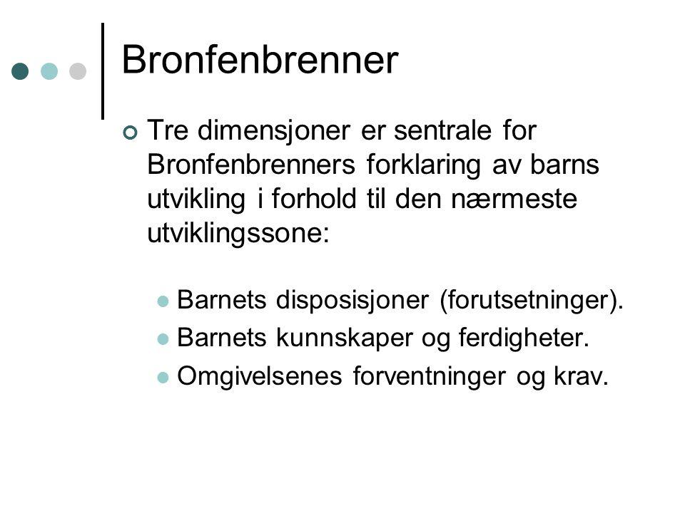 Bronfenbrenner Tre dimensjoner er sentrale for Bronfenbrenners forklaring av barns utvikling i forhold til den nærmeste utviklingssone: Barnets disposisjoner (forutsetninger).