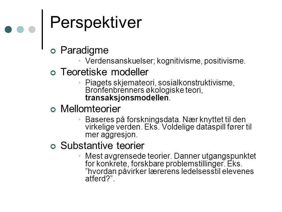 Perspektiver Paradigme Verdensanskuelser; kognitivisme, positivisme.