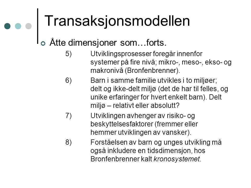 Transaksjonsmodellen Åtte dimensjoner som…forts.