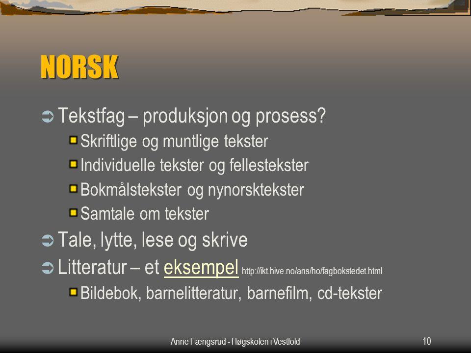 Anne Fængsrud - Høgskolen i Vestfold10 NORSK  Tekstfag – produksjon og prosess? Skriftlige og muntlige tekster Individuelle tekster og fellestekster