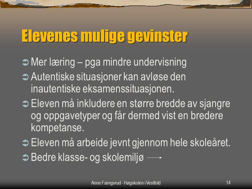 Anne Fængsrud - Høgskolen i Vestfold14 Elevenes mulige gevinster  Mer læring – pga mindre undervisning  Autentiske situasjoner kan avløse den inautentiske eksamenssituasjonen.