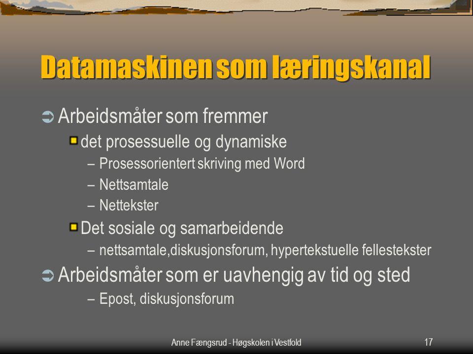 Anne Fængsrud - Høgskolen i Vestfold17 Datamaskinen som læringskanal  Arbeidsmåter som fremmer det prosessuelle og dynamiske –Prosessorientert skrivi