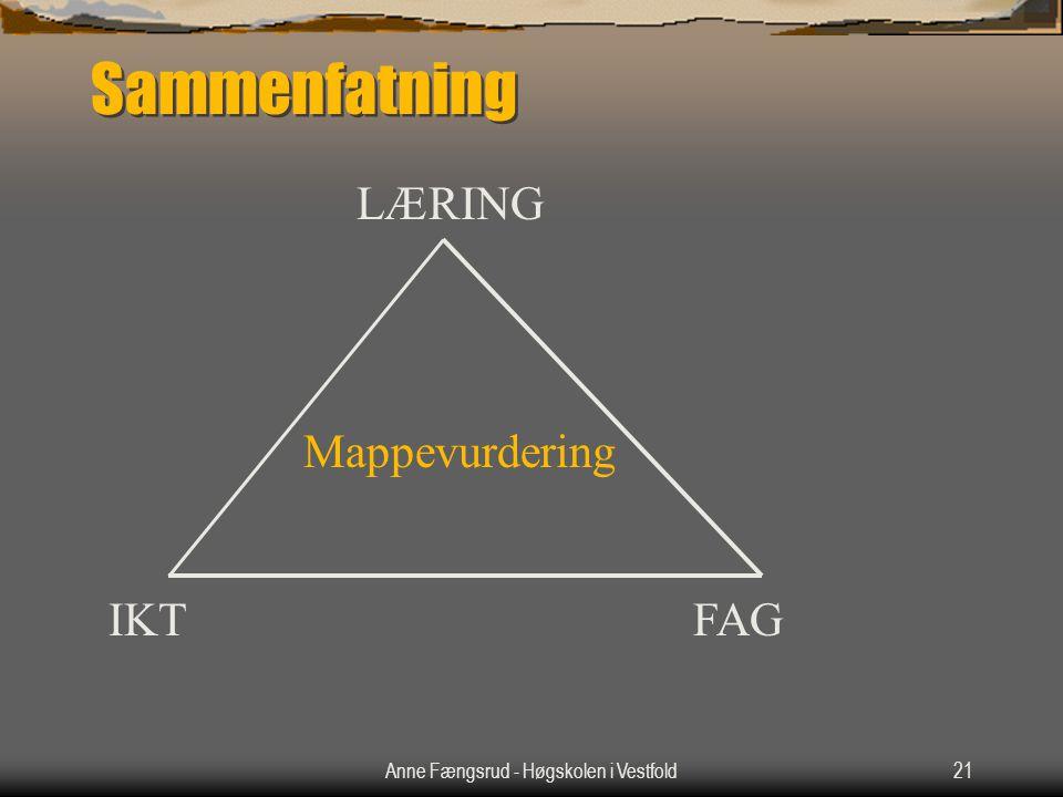 Anne Fængsrud - Høgskolen i Vestfold21 Sammenfatning Mappevurdering IKTFAG LÆRING
