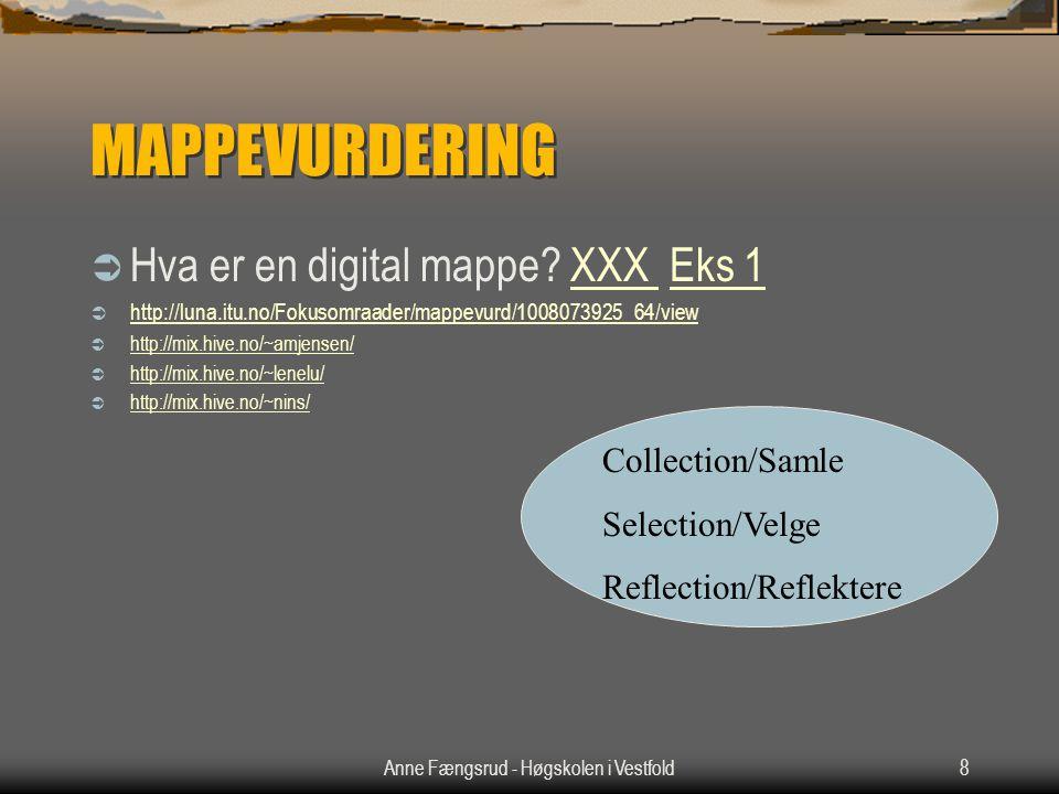 Anne Fængsrud - Høgskolen i Vestfold8 MAPPEVURDERING  Hva er en digital mappe? XXX Eks 1XXX Eks 1  http://luna.itu.no/Fokusomraader/mappevurd/100807