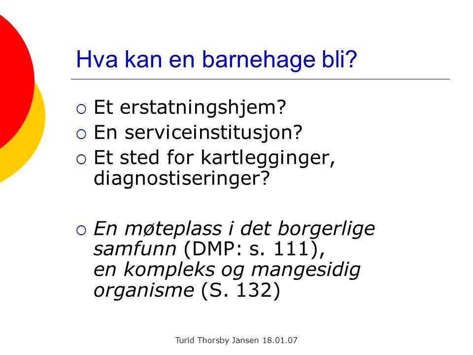 Turid Thorsby Jansen 18.01.07 Hva kan en barnehage bli?  Et erstatningshjem?  En serviceinstitusjon?  Et sted for kartlegginger, diagnostiseringer?