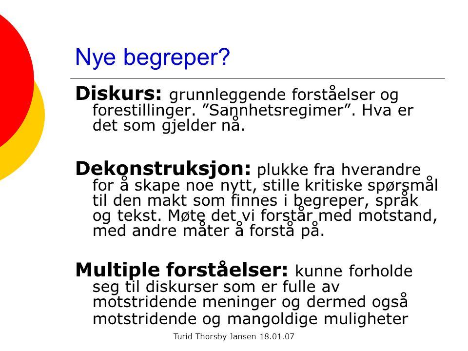"""Turid Thorsby Jansen 18.01.07 Nye begreper? Diskurs: grunnleggende forståelser og forestillinger. """"Sannhetsregimer"""". Hva er det som gjelder nå. Dekons"""