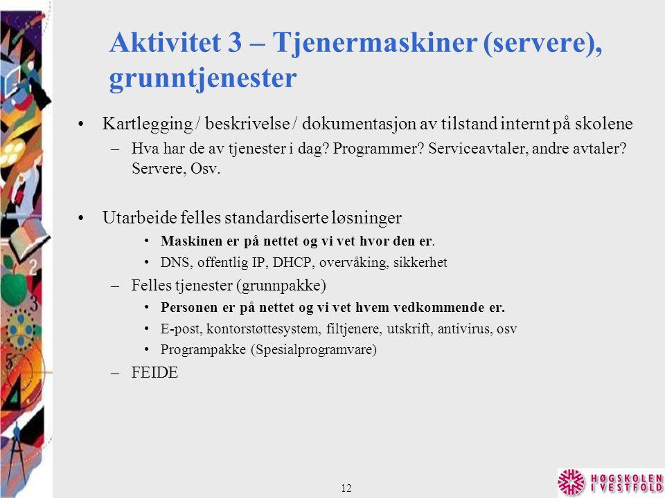 Aktivitet 3 – Tjenermaskiner (servere), grunntjenester Kartlegging / beskrivelse / dokumentasjon av tilstand internt på skolene –Hva har de av tjenester i dag.