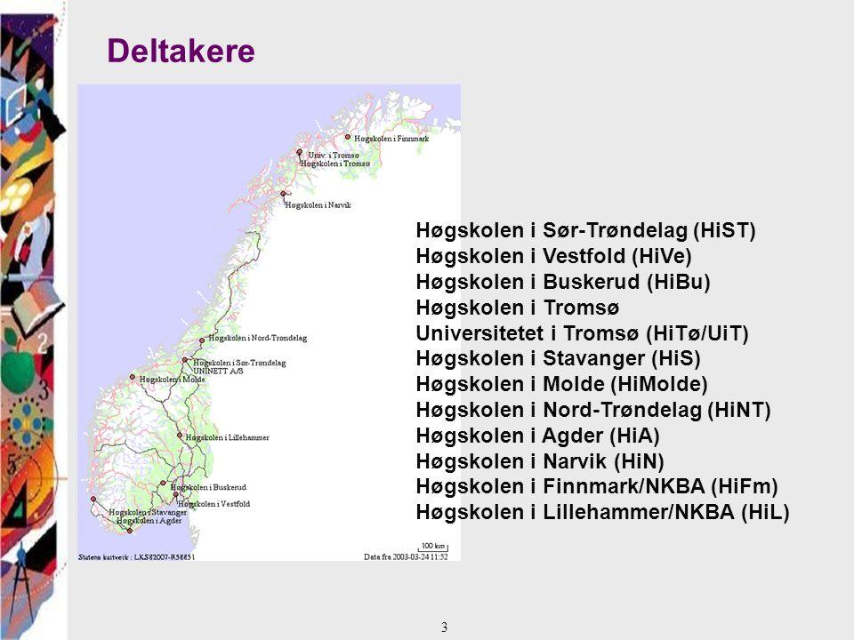 Deltakere Høgskolen i Sør-Trøndelag (HiST) Høgskolen i Vestfold (HiVe) Høgskolen i Buskerud (HiBu) Høgskolen i Tromsø Universitetet i Tromsø (HiTø/UiT) Høgskolen i Stavanger (HiS) Høgskolen i Molde (HiMolde) Høgskolen i Nord-Trøndelag (HiNT) Høgskolen i Agder (HiA) Høgskolen i Narvik (HiN) Høgskolen i Finnmark/NKBA (HiFm) Høgskolen i Lillehammer/NKBA (HiL) 3