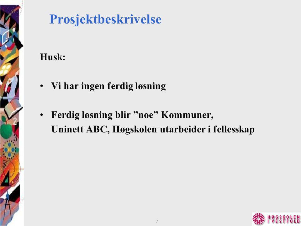 Prosjektbeskrivelse Husk: Vi har ingen ferdig løsning Ferdig løsning blir noe Kommuner, Uninett ABC, Høgskolen utarbeider i fellesskap 7