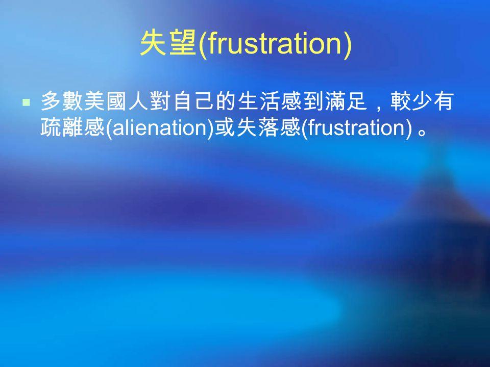 失望 (frustration)  多數美國人對自己的生活感到滿足,較少有 疏離感 (alienation) 或失落感 (frustration) 。