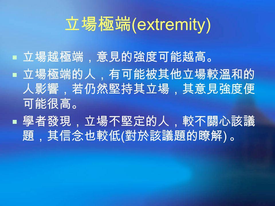 立場極端 (extremity)  立場越極端,意見的強度可能越高。  立場極端的人,有可能被其他立場較溫和的 人影響,若仍然堅持其立場,其意見強度便 可能很高。  學者發現,立場不堅定的人,較不關心該議 題,其信念也較低 ( 對於該議題的瞭解 ) 。