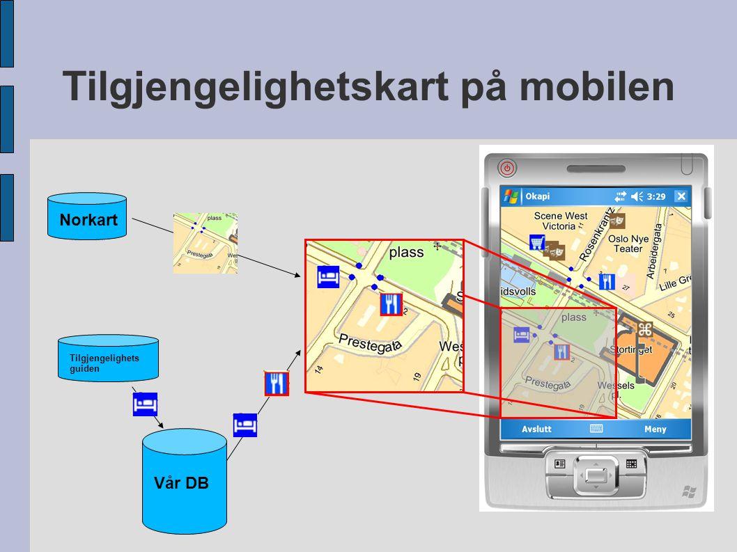 Tilgjengelighetskart på mobilen Tilgjengelighets guiden Vår DB Norkart