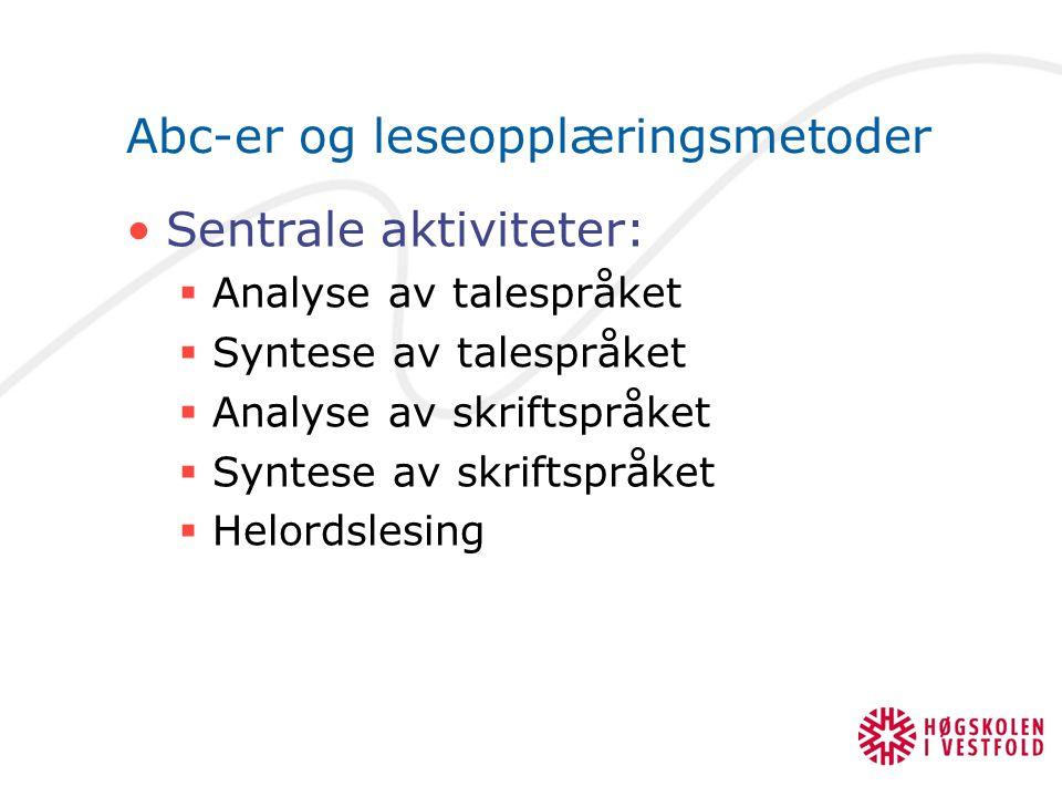 Abc-er og leseopplæringsmetoder Sentrale aktiviteter:  Analyse av talespråket  Syntese av talespråket  Analyse av skriftspråket  Syntese av skrift