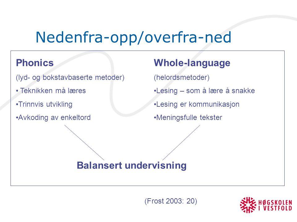 Nedenfra-opp/overfra-ned Phonics (lyd- og bokstavbaserte metoder) Teknikken må læres Trinnvis utvikling Avkoding av enkeltord Whole-language (helordsm