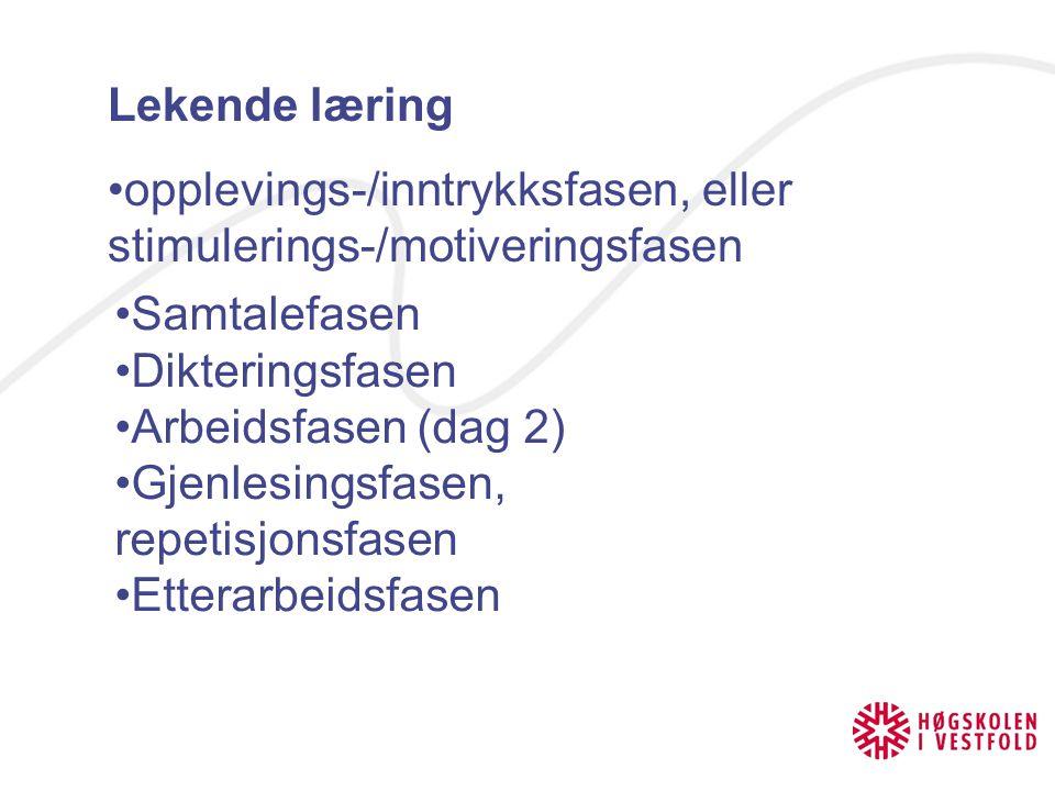 Lekende læring opplevings-/inntrykksfasen, eller stimulerings-/motiveringsfasen Samtalefasen Dikteringsfasen Arbeidsfasen (dag 2) Gjenlesingsfasen, re