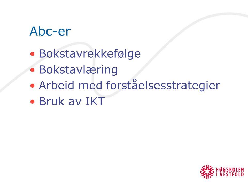 Abc-er Bokstavrekkefølge Bokstavlæring Arbeid med forståelsesstrategier Bruk av IKT