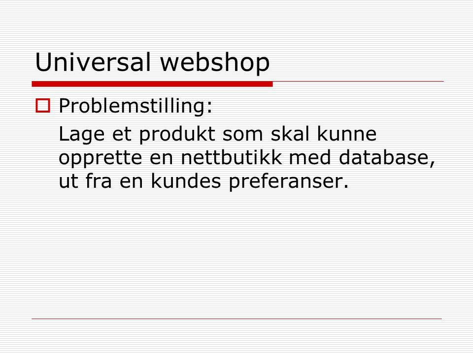 Universal webshop  Hvorfor vi valgte denne oppgaven: Interessant Utfordrende Varierte oppgaver