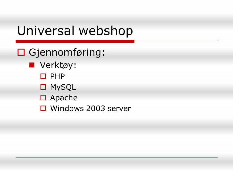 Universal webshop  Gjennomføring (forts.): Delte inn i forskjellige hovedfunksjoner:  Installering/Konfigurering  Webshop innstillinger  Kundeadministrasjon  Vareadministrasjon  Handlekurvløsning  Bestilling  Ordreadministrering