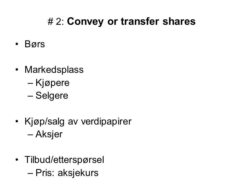 # 2: Convey or transfer shares Børs Markedsplass –Kjøpere –Selgere Kjøp/salg av verdipapirer –Aksjer Tilbud/etterspørsel –Pris: aksjekurs