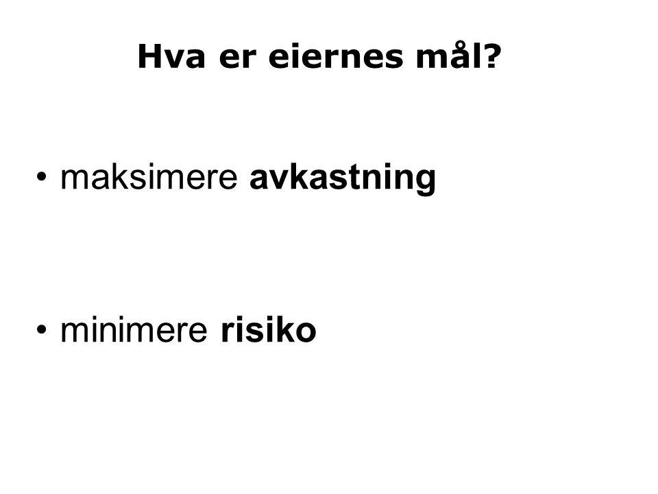 Avkastning og risiko Deal or no deal, 09.12.2006 (A) Du får 480 000 kr (B) Velg en av to kofferter: # 1:1 000 000 kr # 2: 5 kr