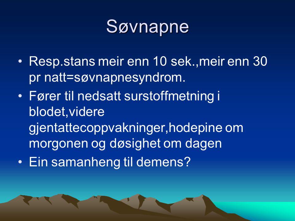 Søvnapne Resp.stans meir enn 10 sek.,meir enn 30 pr natt=søvnapnesyndrom.