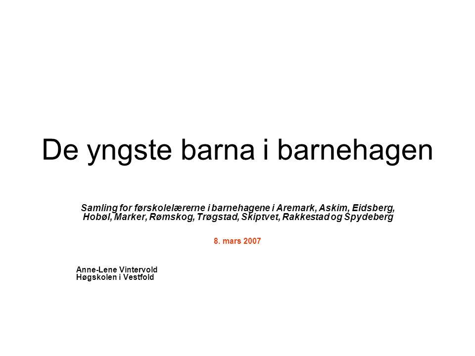 De yngste barna i barnehagen Samling for førskolelærerne i barnehagene i Aremark, Askim, Eidsberg, Hobøl, Marker, Rømskog, Trøgstad, Skiptvet, Rakkest