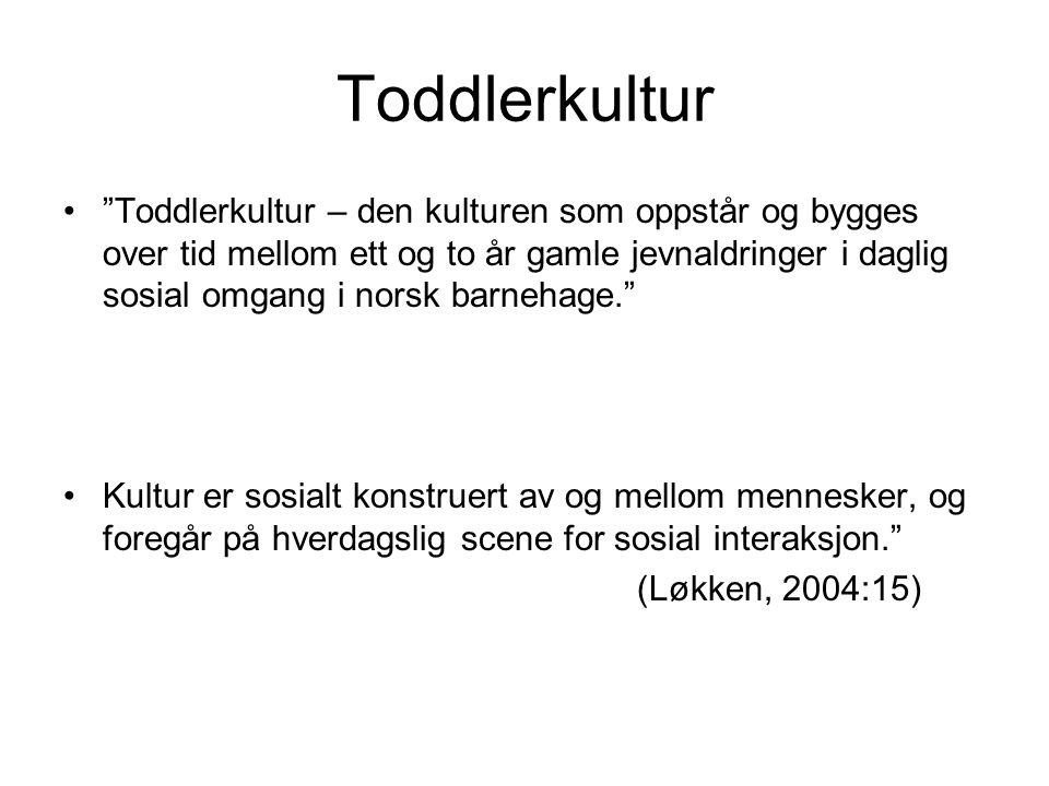 """Toddlerkultur """"Toddlerkultur – den kulturen som oppstår og bygges over tid mellom ett og to år gamle jevnaldringer i daglig sosial omgang i norsk barn"""