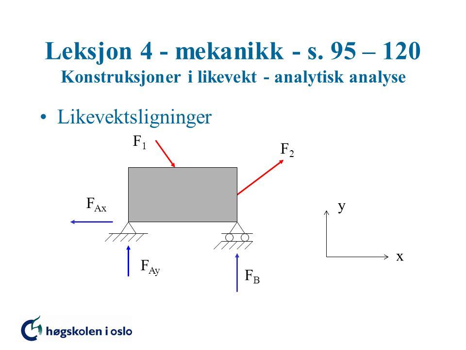 Leksjon 4 - mekanikk - s. 95 – 120 Konstruksjoner i likevekt - analytisk analyse Likevektsligninger F Ay F Ax x y FBFB F1F1 F2F2