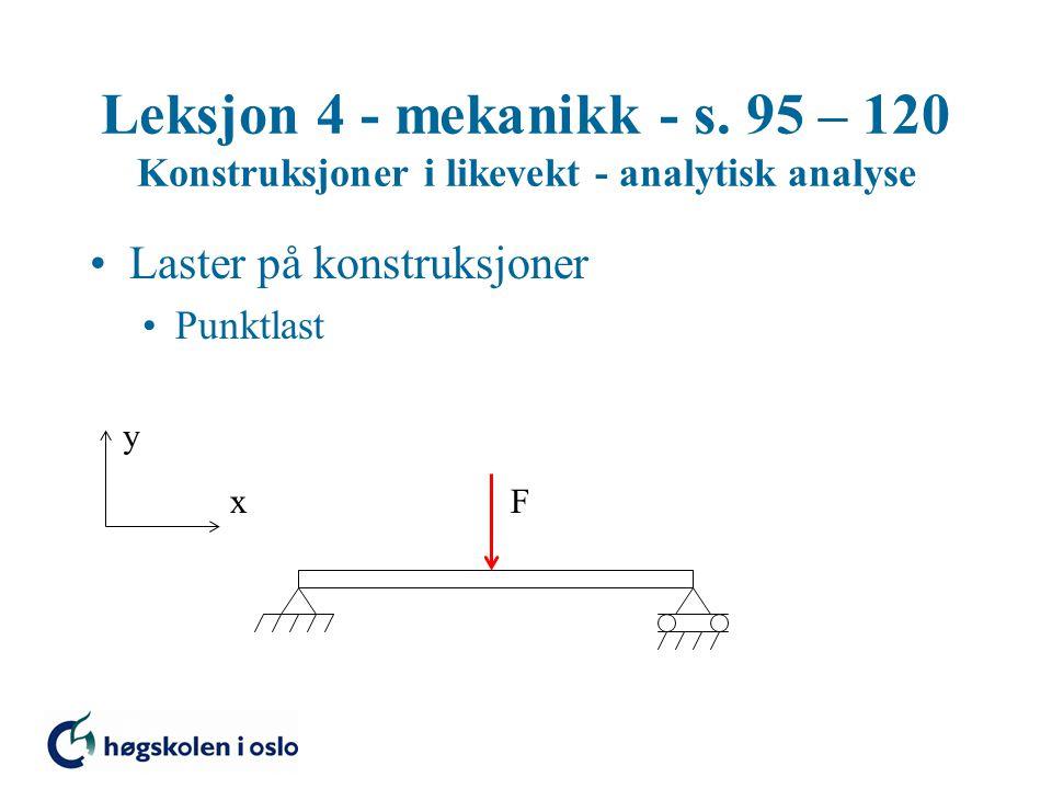 Leksjon 4 - mekanikk - s. 95 – 120 Konstruksjoner i likevekt - analytisk analyse Laster på konstruksjoner Punktlast y xF