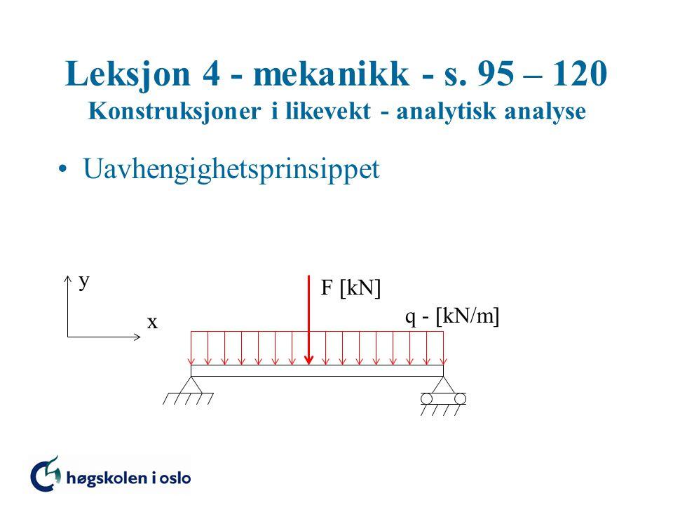 Leksjon 4 - mekanikk - s. 95 – 120 Konstruksjoner i likevekt - analytisk analyse Uavhengighetsprinsippet y x q -  kN/m  F  kN 