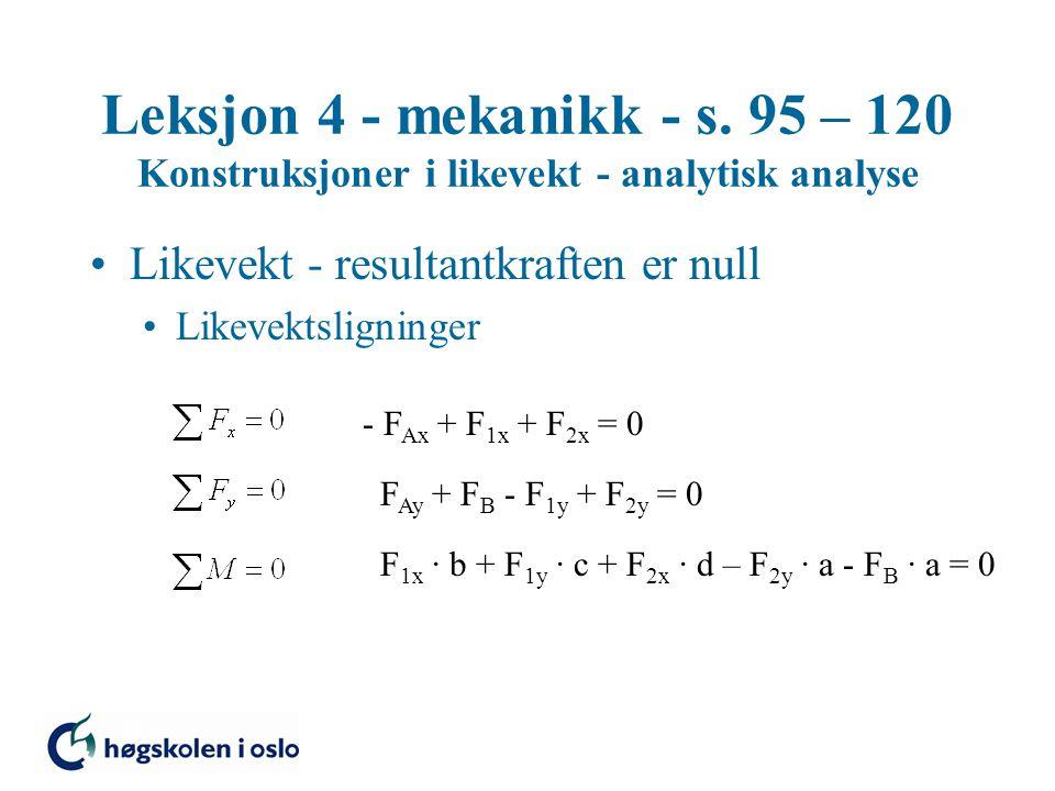 Leksjon 4 - mekanikk - s. 95 – 120 Konstruksjoner i likevekt - analytisk analyse Likevekt - resultantkraften er null Likevektsligninger - F Ax + F 1x