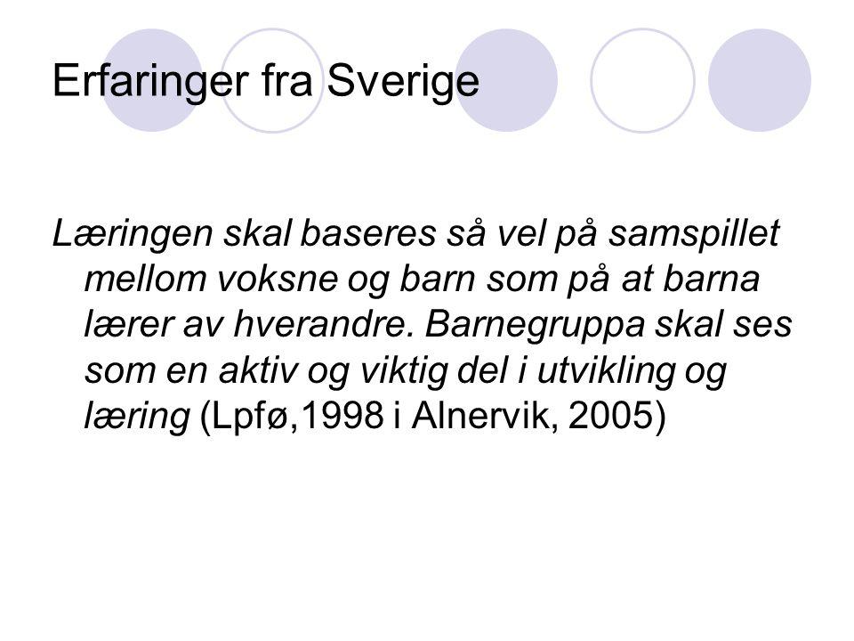 Erfaringer fra Sverige Læringen skal baseres så vel på samspillet mellom voksne og barn som på at barna lærer av hverandre. Barnegruppa skal ses som e