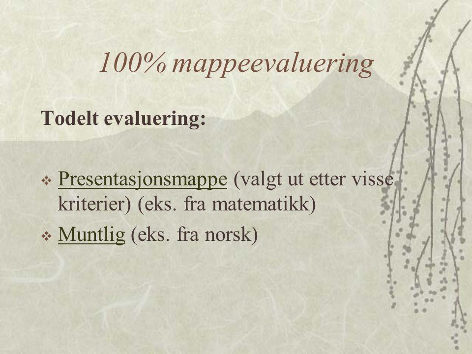 100% mappeevaluering Todelt evaluering:  Presentasjonsmappe (valgt ut etter visse kriterier) (eks.