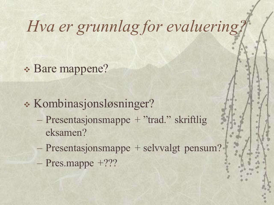 Hva er grunnlag for evaluering.  Bare mappene.  Kombinasjonsløsninger.
