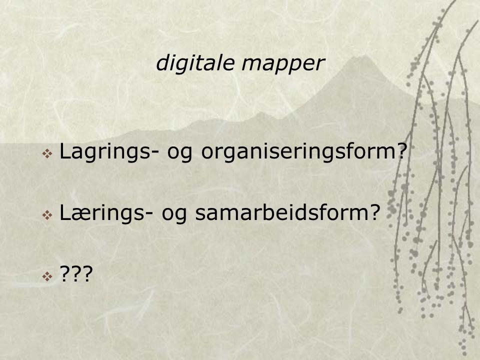 digitale mapper  Lagrings- og organiseringsform  Lærings- og samarbeidsform 