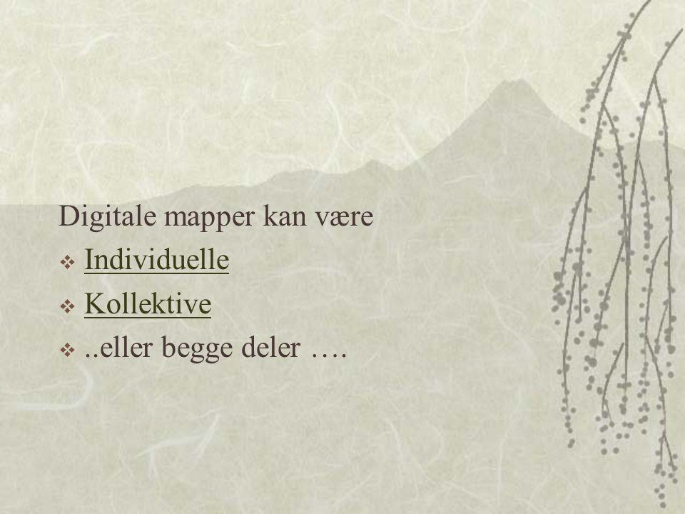 Digitale mapper kan være  Individuelle Individuelle  Kollektive Kollektive ..eller begge deler ….