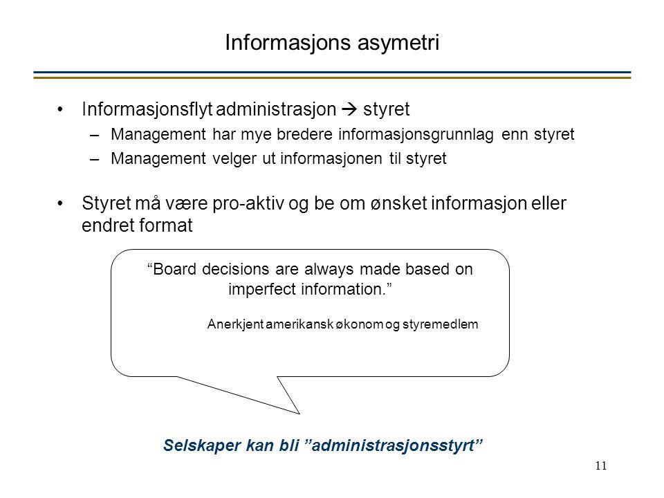 11 Informasjons asymetri Informasjonsflyt administrasjon  styret –Management har mye bredere informasjonsgrunnlag enn styret –Management velger ut in
