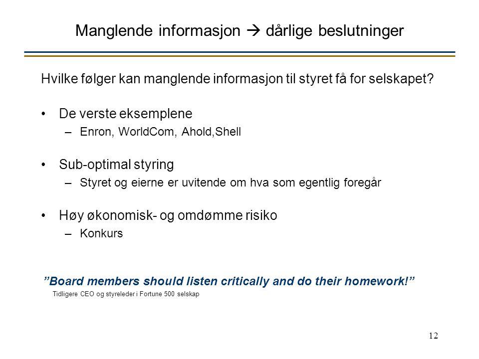 12 Manglende informasjon  dårlige beslutninger Hvilke følger kan manglende informasjon til styret få for selskapet.