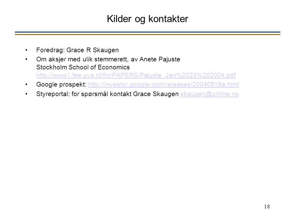 18 Kilder og kontakter Foredrag: Grace R Skaugen Om aksjer med ulik stemmerett, av Anete Pajuste Stockholm School of Economics http://www1.fee.uva.nl/fm/PAPERS/Pajuste_Jan%2023%202004.pdf http://www1.fee.uva.nl/fm/PAPERS/Pajuste_Jan%2023%202004.pdf Google prospekt: http://investor.google.com/releases/20040818a.htmlhttp://investor.google.com/releases/20040818a.html Styreportal: for spørsmål kontakt Grace Skaugen skaugen@online.noskaugen@online.no