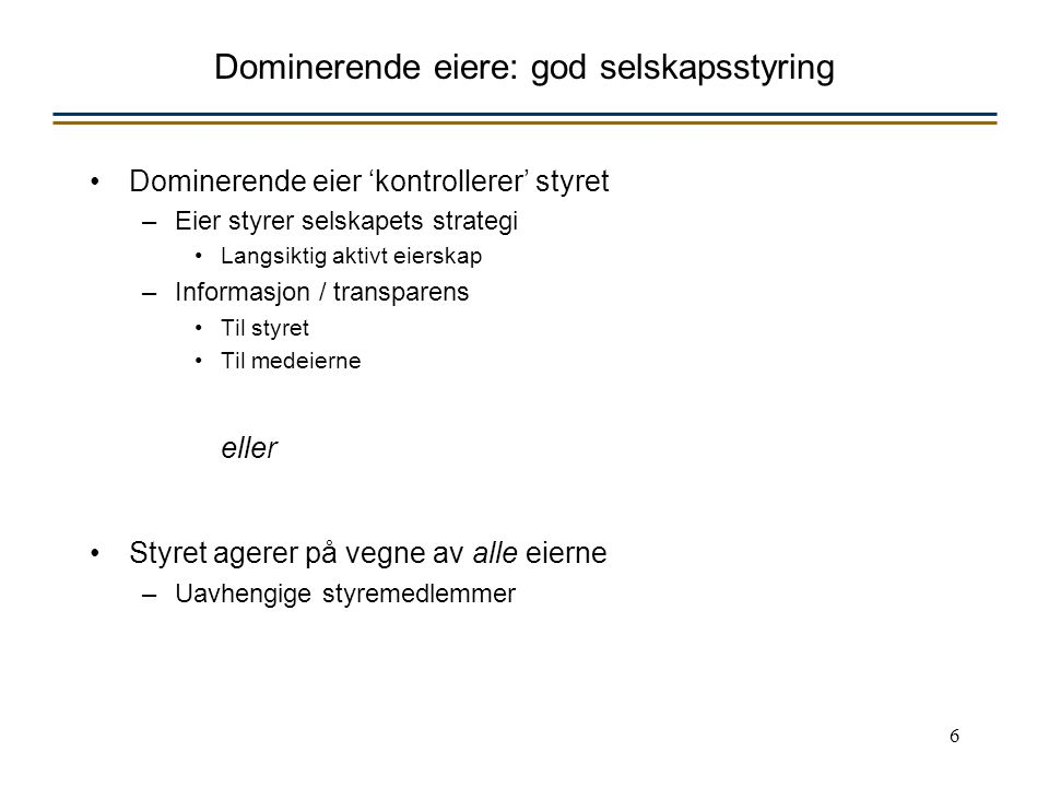 17 Godt styrearbeid Sitat fra tidligere styreleder i en global investeringsbank: He concluded that corporate power today has shifted from management to the boardroom, to the shareholders' benefit, and that the best way to handle the increased attention and responsibility is for board members to –do their homework, –go with their gut, –speak up early and often and –set the agenda
